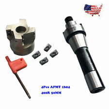 400R 50MM Face Shell Mill Cutter +R8 FMB22 Arbor+ 4x APMT1604 Carbide Inserts US