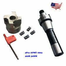 FMB22 Arbor 400R 50MM Face Shell Mill Cutter + 4pcs R8  APMT1604 Carbide Inserts