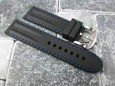 24mm HQ Soft Rubber Diver Strap Black Watch Band Pam 1950 Blue Stitch