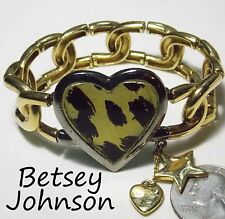 Signed BETSEY JOHNSON Bracelet, Leopard Heart, Large Stretch GT Chain, 2 Dangles