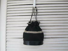 Vintage Bucket Bag Drawstring  Woven Stitched Crochet & Pearl Purse