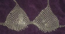 VINTAGE Silver Chain Mail Metal Belly Dancer Gypsy Bra Top
