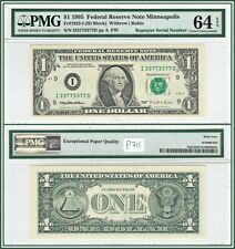 Fancy Serial 1995 Binary Repeater $1 Fed Reserve Note PMG 64 EPQ Choice Unc FRN