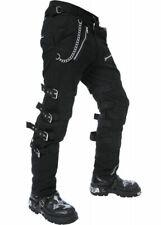 Dead Threads Men's Black Goth Punk Morte Pants Buckle Chain Trousers