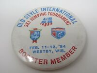 Ski Jumping Tournament 1984 Westby Wisconsin Pin Button Old Style Beer