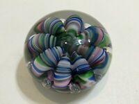 "Joe St Clair Multi Color Ribbon Like Claws w/Bubbles Art Glass Paperweight, 3"" W"