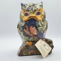 Vintage Decoupage Owl Figurine With Glasses and Tag Made in England