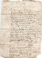 1570 Gothic medieval manuscript document AMAZING signature and calligraphy VOW