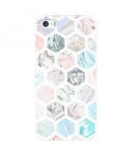Coque Iphone 7 PLUS Marbre pastel geometrique rose blanc