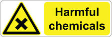 HARMFUL CHEMICALS health and safety | signs/stickers 300 x 100 mm