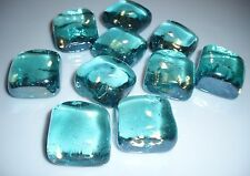 D00309 Set of 10 Square Glass Blue Gems,Crafts,Jewelry,OOAK,Dolls,Floral,Tile