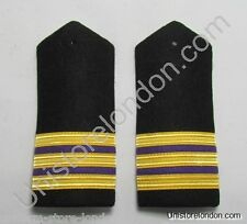 Epaulette Merchant Navy 2nd Engineer Second Hard Curved  3 Gold Bar R1235