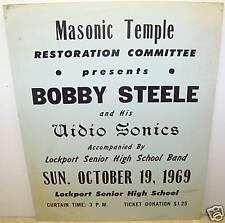 1969 BOBBY STEELE AUDIO SONIC BAND POSTER LOCKPORT NY