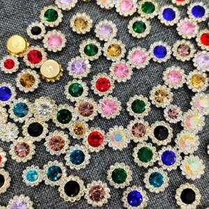 50 Pieces Alloy Rhinestone Flowers Buttons for Crafts Sewing Wedding Decor 12 mm