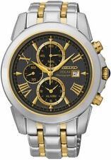 Seiko SSC194 Men's Solar Chronograph Two-Tone Grey Dial Stainless Steel Watch