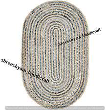"3x4""Feet Natural Braid Oval Shap Jute&Denim Rug Hand Woven Reversible Area Rugs"