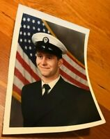 VINTAGE US Navy Recruit formal head shot COLOR photo with us flag 1970's?