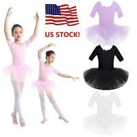 US Kids Girls Ballet Dress Dance Gym Skating Tutu Skirts Short Sleeves Dancewear