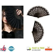 Ladies BLACK LACE FAN Folding Hand Held Dance Party Wedding Fancy Dress Events