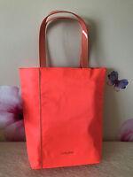 "Lancome Orange Fabric Tote Bag - 15 1/4"" W x 15 1/2"" T x 4"" Wide Base - New"