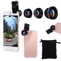 3 in1 Fish Eye+ Wide Angle + Macro Camera Clip-on Lens for iPhone 7/ Plus/ 6S