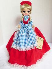 "VTG by Bradley Doll Big Eyes Sankyo Japan music box 13"" tall red dress"