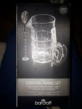 BarCraft Glass Cocktail Mixing Set with Strainer & Recipe Book Brand New