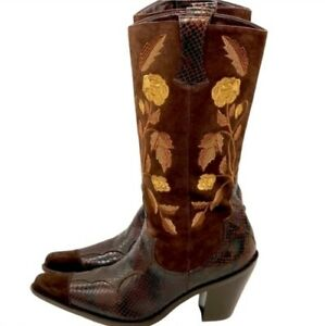 Vintage Boots Vintage Cowgirl Boots High Heeled Boots Western Womens Boots Antonio Melani Brown Leather Tooled 90s Western Boots