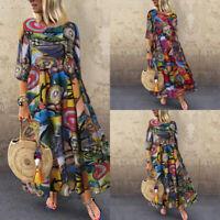 US STOCK Women's Summer Short Sleeve Long Shirt Dress Kaftan Swing Midi Sundress