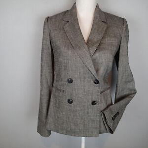 Theory Double Breasted Blaze Jacket Sharkskin Crunch Linen Blend Sz 4  $435