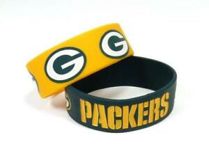 Green Bay Packers Silicone Bracelets 2 Pack Wide [NEW] NFL Jewelry Bracelet