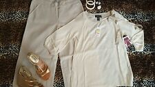 Ivory Size 8 Outfit: Pants, NWT Sweater Gold Wedge Sandals Bangles Earrings Ring