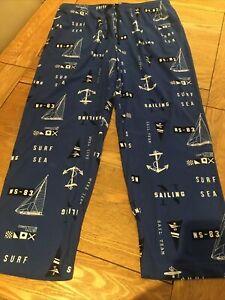 Mens Nautica Pyjama Bottoms Size XL Blue Sailing Print Pj Bottoms