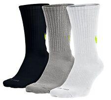 NIKE Dri-FIT Cushioned HBR 3-Pack Crew Socks sz L Large (8-12) Black Grey White