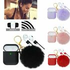 For Apple Airpods Charging Case Earphone Airpod Cover with Fur Ball Key Chain US