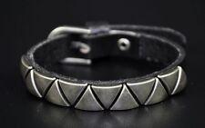 JS50 Triangle Studded Single Band Leather Bracelet Wristband Cuff Unisex BLACK