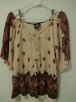 NWT~ANGIE Brand Women's Blouse Top ~ S ~ Boho Bohemian Style~ Cold Shoulder~ NEW