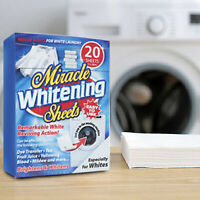 New 20 Pack MEGA WHITE LAUNDRY SHEETS Whitener Stain Remover Clean Clothes Wash✔