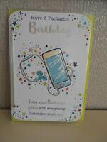 Have fantastic Birthday male Mobile Phone stars glittery Happy Birthday Card