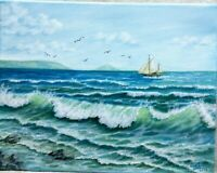 "Art14""/11""ocean,Hawaii,oil hand painting,Seascape painting,ocean, landscape,surf"