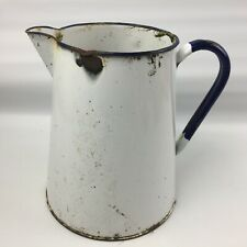 Vintage Metal Jug, Shabby, Blue & White with patina,Ideal Planter,Vase 21cm tall