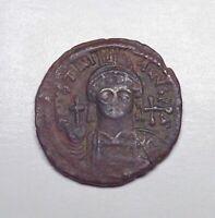 (544 CE) Byzantine Empire - Justinian I AE Half-Follis, Cyzicus Mint, Year 17.