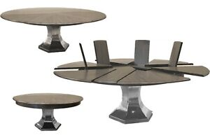 Modern Jupe Table Expandable Round Dining Table with Self-Storing Leaves Seat 10