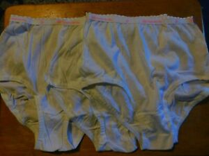 VINTAGE HANES HER WAY GIRL'S LOT OF 3 WHITE BRIEFS/SIZE 12/NWOT