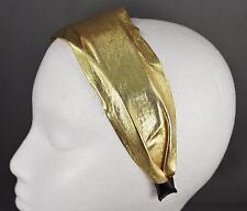 Gold shiny lamé fabric headband super extra wide hair band accessory