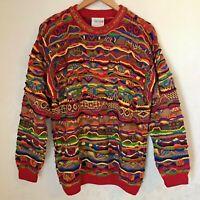 Coogi Australia Multicolor 3D Sweater Size Medium Vintage Biggie Cosby Colorful