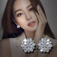 Elegant Women 925 Silver Full Diamond Snowflake Earrings Ear Stud Party Jewelry