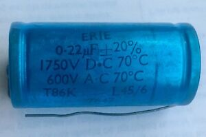 0.22uF 220nF 20% 1750V 600Vac Vintage paper in oil capacitor ERIE New old stock