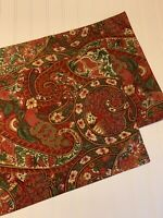 Pottery Barn Dark Red Green Paisley Cloth PlaceMats PAIR 14 X 20 Elegant!