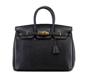 Handtasche Kelly Bag Styl Schwarz Togo Leder Klassiker NEU 1A Zustand Unbenutzt